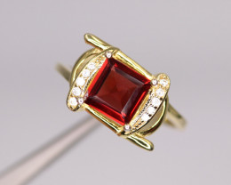 Gorgeous Natural Garnet, CZ & 925 Fancy Yellow Sterling Silver Ring