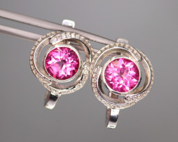 Gorgeous Natural Pink Topaz, CZ & 925 Fancy Sterling Silver Earring