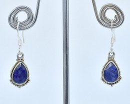 BLUE SAPPHIRE EARRINGS 925 STERLING SILVER NATURAL GEMSTONE AE1318