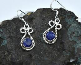 BLUE SAPPHIRE EARRINGS 925 STERLING SILVER NATURAL GEMSTONE AE1324