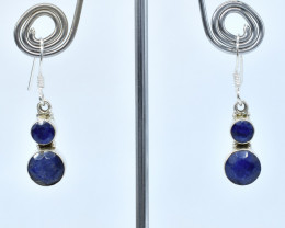 BLUE SAPPHIRE EARRINGS 925 STERLING SILVER NATURAL GEMSTONE AE1326