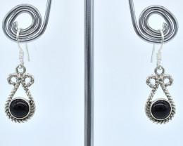 BLACK ONYX EARRINGS 925 STERLING SILVER NATURAL GEMSTONE AE1329