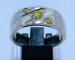 Fancy Top Quality 42.57 ct Yellow Diamond Ring | For Men