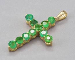 14k gold cross pendant with natural round emeralds