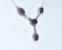 AMETHYST NECKLACE NATURAL GEM 925 STERLING SILVER AN248