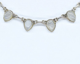 RAINBOW MOONSTONE NECKLACE NATURAL GEM 925 STERLING SILVER AN250