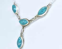 TURQUOISE NECKLACE NATURAL GEM 925 STERLING SILVER AN250