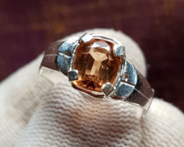 Natural Champagne Topaz 15.10 Carats Hand Made Ring