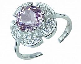 2.54ct.Exquisite Natural Kunzite Gemstone Silver925Ring.DKZ573