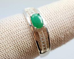Natural Emerald Silver Ring