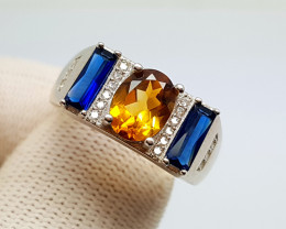 Natural Citrine From Madeira Silver Ring