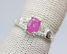 Natural Pink Ruby Sterling Silver Ring