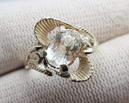 Natural Colorless Aquamarine Sterling Silver Ring