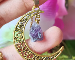 100% Natural Waxing Crescent Raw Amethyst Gold Plated Handmade Pendant