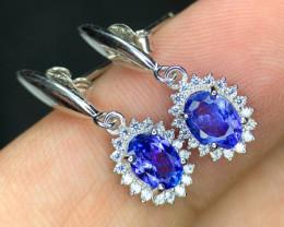 *NR*Attractive Tanzanite with CZ,Silver 925 Earrings Tanzanite