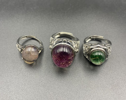 3 piece, Beautiful Fashion Rings, Injected Quarts Ring.