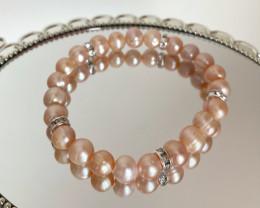 Natural Freshwater Pearl Elastic Bracelet #4