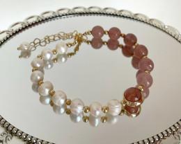 Strawberry Crystal Baroque Pearl Bracelet #8