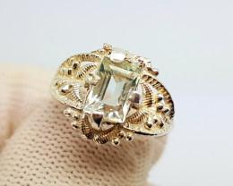 Natural Green Aquamarine Silver Ring