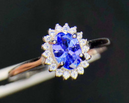 *NR*Tanzanite Extremely Nice Color Silver 925,CZ Ring