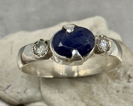 Natural 15.00 Carats Blue Sapphire hand Made 925 Silver Ring
