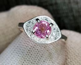 Natural Pink Tourmaline 11.90 Carats 925 Silver Ring