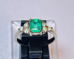 12. 35 Charming Natural  Emerald Ring With Diamonds