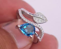 Natural Beautiful London Topaz Gems Ring