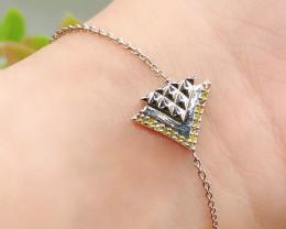 Stylish Natural Yellow diamond 0.06  Cts Sterling Silver 925  Bracelet