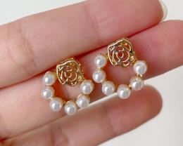 Natural Pearl Rose Earring E01