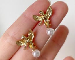 Natural Pearl Angel Earring E02
