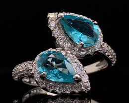 Top class ring Natural paraiba color Appetite  ring with White CZ in  Silve