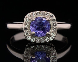 Attractive Natural Tanzanite with CZ Fancy ring in 925 silver