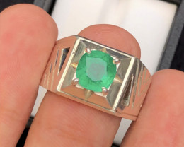 Presenting 68 Ct Silver Ring ~ With Natural Emerald  Stone Afghan  Mined !
