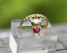 Bear design 14k white and yellow gold ring with ruby and diamonds.
