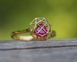 Heart in prison ring with heart shape ruby.