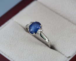 14 k gold ring with sapphire and diamonds.