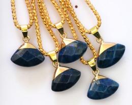 5 Stylish Blue Tiger Eye Triangular Pendants AHA 1628