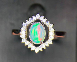 *NR*Gorgeous Fire Play Opal with CZ,Silver 925 Ring