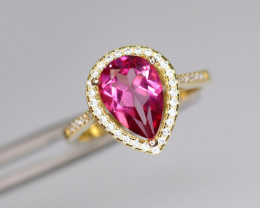 Gorgeous Natural Pink Topaz, CZ & 925 Fancy Yellow Sterling Silver Ring