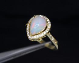 Fabulous Natural Fire Opal, CZ & 925 Fancy Yellow Sterling Silver Ring