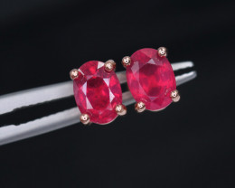 Attractive Natural Ruby & 925 Rose Gold Sterling Silver Earring