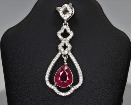 Attractive Natural Ruby, CZ & 925 Fancy Sterling Silver Pendant