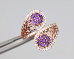 Fabulous Natural Amethyst, CZ & 925 Fancy Rose Gold Sterling Silver Ring