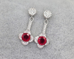 Gorgeous  Natural Ruby, CZ & 925 Fancy Sterling Silver Earring