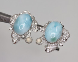 Attractive Natural Larimar, CZ & 925 Fancy Sterling Silver Earring