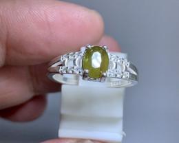 Natural 10.00 Carats  green Sphene/titanite 925 Silver Ring