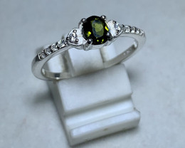 Natural 10.00 Carats green diopside with Cz 925 Silver Ring