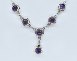 AMETHYST NECKLACE NATURAL GEM 925 STERLING SILVER AN255