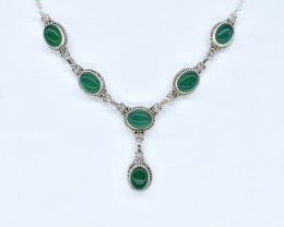 GREEN ONYX NECKLACE NATURAL GEM 925 STERLING SILVER AN257